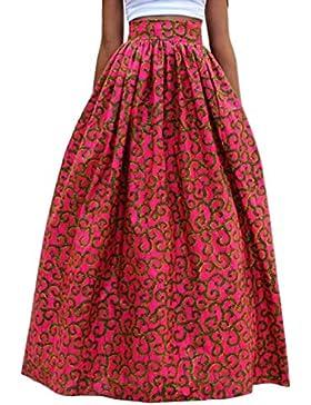 Verano de Partido Mujeres Beachwear Manera Personalidad Oscilación Largo Faldas Casual Floja Impresión Maxi Falda...