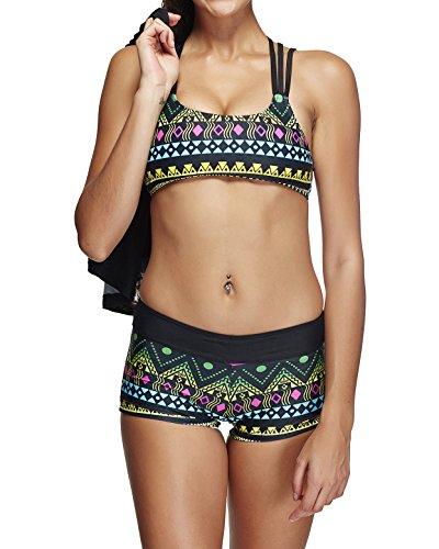 Damen Schwimmanzug für Set mit Shorts Sportlish Strand Badeanzug Bademode 3 Teillig Tankini Set Stil1