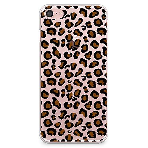 "CasesByLorraine, für iPhone 7 (4.7""), transparentes, flexibles TPU Soft Gel Back Cover | Back Case | Rückenschale | Hülle, Muster Wood Print Coral Pink Geometric Striped (G02) A03"