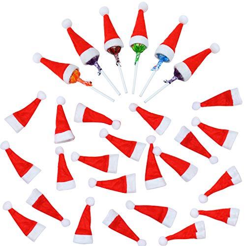 Elcoho 50 Picese Mini Weihnachtsmütze rot Nikolausmütze DIY Lollipop Candy Cover Hut für Weihnachtsdekoration Basteln rot