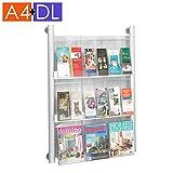 displaysense 9x A4oder 18x DL (Trifold) Broschüre Spender, Parabel,–Wand montiert–Acryl, Aluminium