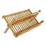 Milopon Abtropfgestel Abtropfhalter Geschirrkorb Geschirrständer Abtropfständer Küche Tellerständer aus Bambus-Holz für Teller, Tassen, Geschirrtrockner