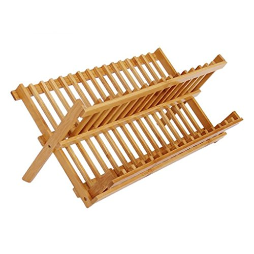 Milopon Escurridor gestel Escurridor plana Vajilla cesta Escurreplatos (Escurridor De Cocina Platos Soporte de madera de bambú para platos, tazas, geschirrtrockner