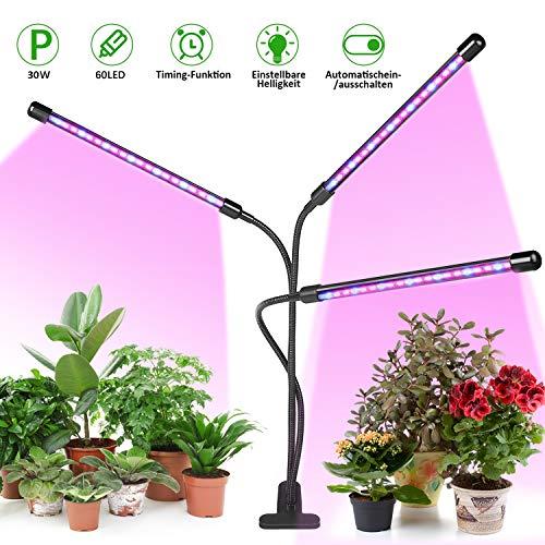 Pflanzenlampe LED, LED Grow Lampe mit Timer 30W Pflanzenleuchte-LED Grow Light Wachsen Dimmbar 3 Modi 8 Helligkeiten für Zimmerpflanzen,Gemüse und Obst und Blumen