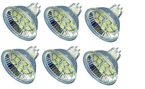 12vmonster 6Pack AC DC 12V 24V 2,5W warm weiß 10SMD Cluster LED Leuchtmittel MR16GU5.3Bi Pin Lampe