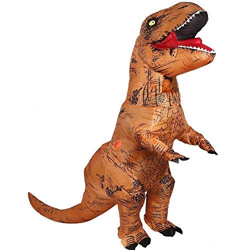 Imagen de disfraz hinchable con diseño de dinosaurio t rex, ideal para cosplay