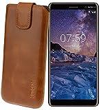 Suncase ECHT Ledertasche Leder Etui für Nokia 7 Plus Dual SIM Tasche (mit Rückzugsfunktion) cognac
