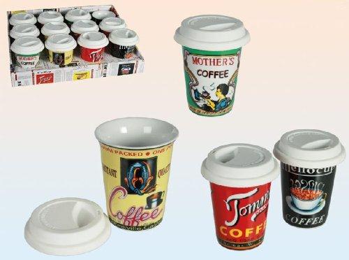 Coffee to go Becher Kaffeebecher Porzellan Retro 200 ml 6 Stück Set