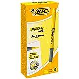 BIC Highlighter Grip Surligneurs Pointe Biseautée - Jaune, Boîte de 12