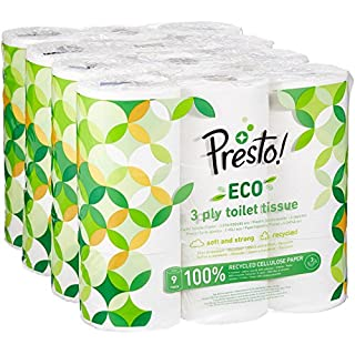 Amazon Brand - Presto! 3-Ply ECO Toilet Tissues, 36 Rolls (4 x 9 x 200 sheets)
