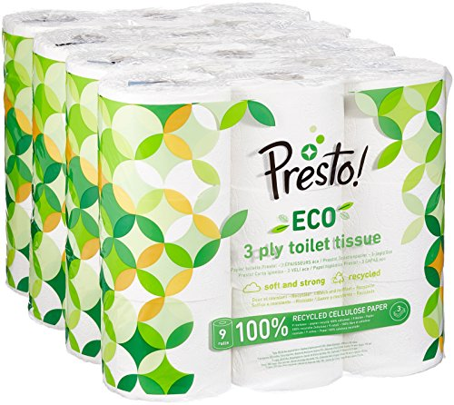 Amazon-Marke: Presto! 3-lagiges ECO Toilettenpapier, 36 Rollen (4 x 9 x 200 Blätter) - Eco-materialien