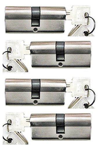 Preisvergleich Produktbild Schließanlage Gleichschließend 2, 3 oder 4-er Set in 60 mm (30x30) Doppelzylinder je mit 5 Schlüssel (4)