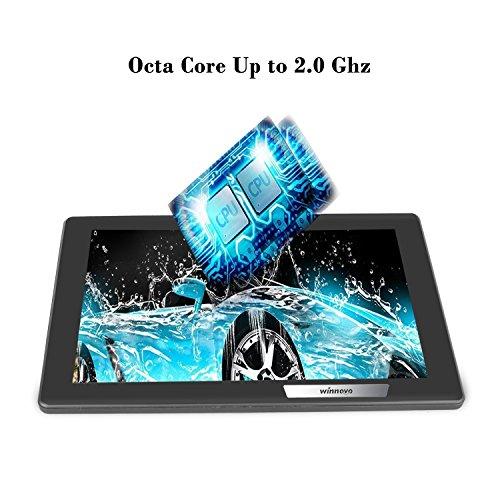 Tablet 10.1 pulgadas Android WiFi   Winnovo MiTab Pro Ocho Núcleos Tablet PC con funda de cuero para protege 32GB ROM 2GB RAM Cámara doble 6000mAh Batería apoyo Neflix