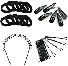 Combo pack of zig zag hair band+ Rubber band+tic tac clips+Bob pins