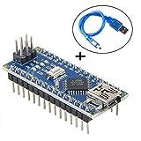 MakerHawk Nano V3.0, chip Nano CH340G Chip / ATmega328P 5V 16MHz con cable USB, compatible con Arduino Nano V3.0 para Arduino