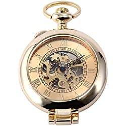 AMPM24 Retro Gold Skeleton Dial Mens Steampunk Mechanical Pocket Watch + AMPM24 Gift Box WPK129