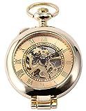 AMPM24 WPK129-Orologio da tasca unisex,Rame,Lusso Scheletrato Analogico Meccanico Manuale,colore:Oro