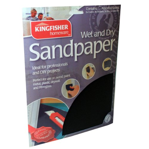 80, 150, 240 and 400 grade sandpaper from Kingfisher. 20 Sheets of Assorted Premium Wet & Dry Quality Sandpaper & EXCLUSIVE Inspirational Magnet by Kingfisher