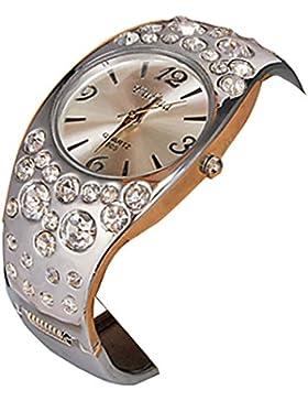 YPS Frauen runden Zifferblatt Diamante Legierung Band Quarz-analoge Armbanduhr WTH8333