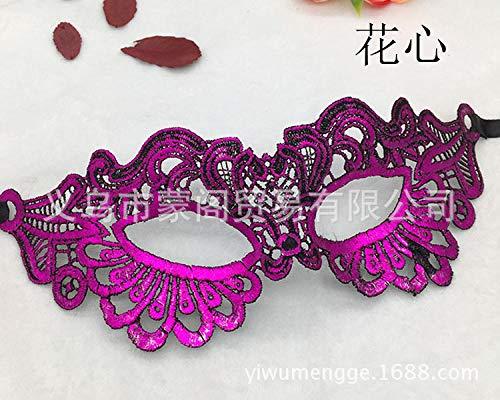 MIANJUMJ Halloween Maske Für Frauen, Sexy Prom Lila Blume Herz Eye Mask Für Hochzeit Party Abend Masquerade Kostüme Halbe Gesichtsmaske