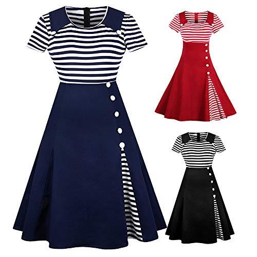 ZAFUL Damen Gestreiftes Kleid Festliche Hepburn Kleider mit Knöpfe-Dekoration Kurzarm Cocktailkleid Schwarz XXXX-Large - 6