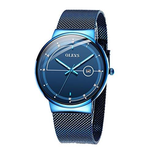 Männer Uhren, L'ananas 2020 Neu Minimalismus Kalender Gebogenes Glas HD Leuchtend Mesh-Gürtel Armbanduhren Men Watches Wristwatches (Blau)