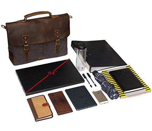 Estarer Unisex Vintage Umhängetasche Leder Canvas Laptop Schultertasche Armee Grün Größer: Dunkel Grau