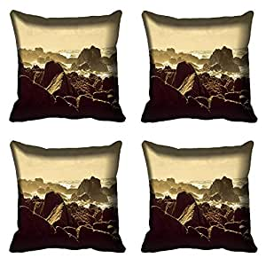 meSleep Nature 377-04 Digitally Printed Cushion Cover (16x16) - Set of 4