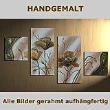 HANDGEMALT: 4 LEINWANDBILDER BILDER [MOHN 2] 80 x 50cm. Bilder auf Holzrahmen gespannt und und kann SOFORT aufgehangen werden!