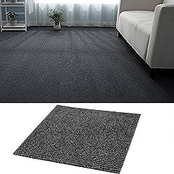 WarmieHomy 20 Tiles 50 x 50cm Hard-Wearing Carpet Tiles Anti-Slip Floor Covering 5 SQM/ 53sq ft for Home Office (Dark Grey)