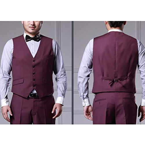 Zhhlaixing Uomo Gilet Mens Formal Business Office Wedding Button Down V-neck Sleeveless Skinny dress Suit Vests Waistcoat Gilet Blazer Jacket Thanksgiving Christmas Present Purple