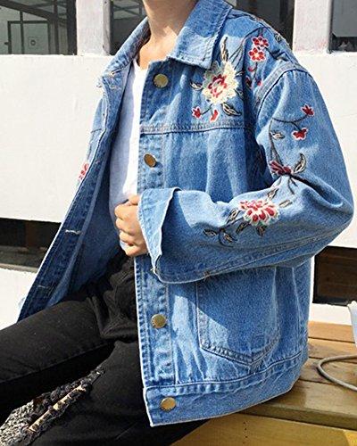 Femmes Retro Blouson Manches Longues Veste En Jean Bleu