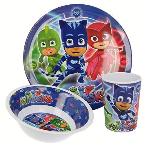 PJ Masks Pyjama-Helden Kinder-Geschirr Set mit Teller, Müslischale und Trinkbecher aus Melamin