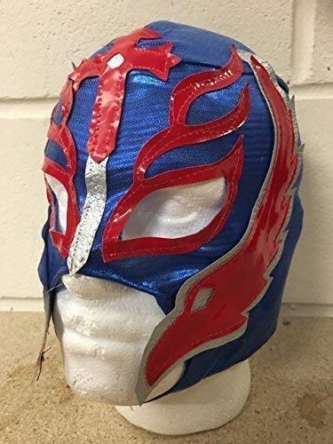 Kostüm Rey Mysterio Outfit - Wrestling Rey Mysterio - Blau - Reißverschluss Maske WWE Kostüm Verkleiden Outfit