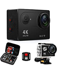 4K Action Cameras Sport Waterproof Camcorder - FITFORT Wireless Camera with 2.4G Remote Control, WiFi Ultra HD 12MP 170 Degree Wide Angle,2 Inch LCD Screen,2 Rechargeable Batteries 19 Accessories Kit