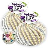 WOOLLY HUGS PLAN Nr. 80 - Geschenke-Set: 2 Knäuel a 100g, 50% Merino extrafein, 28% Baumwolle, 22% Polyamid + Happy Birthday Button