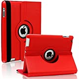 Aavjo® 360 Degree Rotating PU Leather Flip Folio Book Case Cover For Apple IPad Air 2 / IPad 6 (Model : A1566 , A1567) - Red