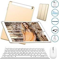 Tablet 10 Pulgadas 3GB+32GB, Octa Core,Android 7.0, Dual SIM, 3G Tableta de función de Llamada , Batería de 8000 mAh, WiFi/ Bluetooth/GPS/OTG, V Mobile , Golden (805-02)