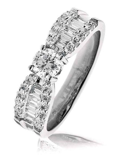 1.05CT Certified G/VS2 Round Brilliant Cut Claw Set Diamond Ring with Baguette and Round Brilliant Diamond Shoulders in 18K White Gold