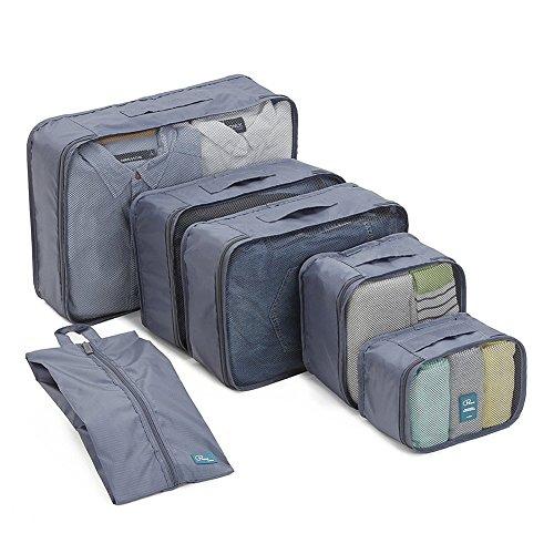 Kofferorganizer mit Schuhtasche 6-teiliges Set, Packing Cubes Kleidertaschen Packtaschen,Ultra-leichte Gepäckverstauer Ideal für Reise, Seesäcke, Handgepäck und Rucksäcke (Marineblau) -