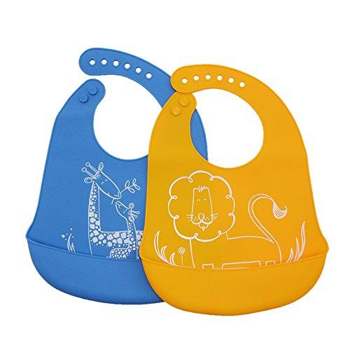 Wasserdicht, Soft Silikon Baby Lätzchen mit großen Speisen Catcher Tasche, einfach zu reinigen Bakterien resistent Süßes Lätzchen für Babys oder Kleinkinder, Set 2Farben (Große Wasserdichte Baby Lätzchen)