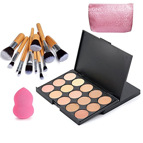 VONISA 15 Farben Concealer Palette Kontur Kit Gesicht Konturieren Highlighter Palette Beauty Kosmetik Creme Make Up Abdeckcreme Set 11 Stück Bambus Bürsten Pinsel Set und Make-up Puderquaste Schwämme