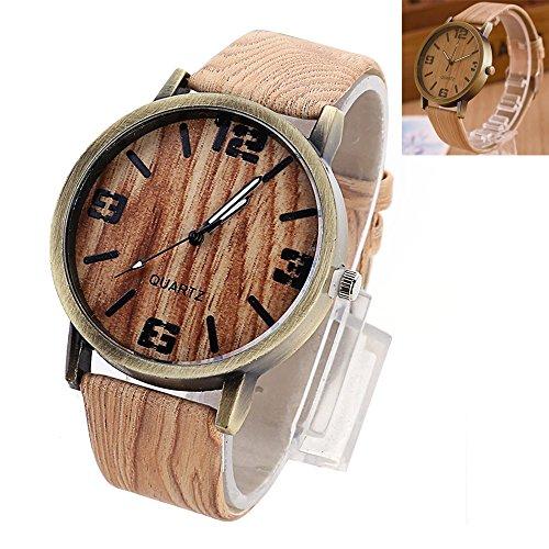 Efanty uomo orologi da polso orologio in legno analogico al quarzo con cinturino pelle in venatura del legno