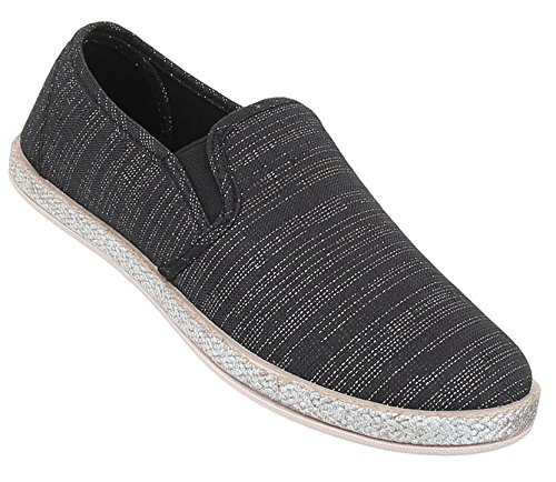 Damen Halbschuhe Schuhe Slipper Loafer Silber