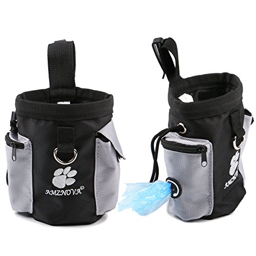 AMZNOVA Hunde Leckerli Tasche Futterbeutel Für Hundetraining Snack Kotbeutel Kotbeutel-Spender mit Verstellbarer Streifen -