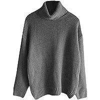 Mujeres Tops Rovinci Mujeres Cómodas Ocasionales de Color sólido de Manga Larga Suelta Cuello Alto suéter de Punto Jersey Jersey Tops Blusa S-XL