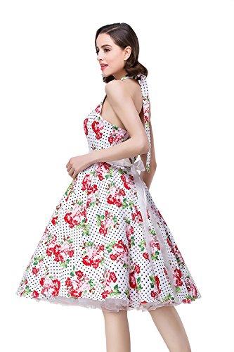 Babyonlinedress Robe de soirée/Cocktail Courte Licou Rétro Vintage année 50 sans Manches , Style Audrey Hepburn Rockabilly Swing avec l'Impression Fleur 32-46 Rose