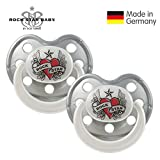 ROCK STAR BABY® by Tico Torres - Silicone Orthodontic Baby Soother - Size 3 for 18+ months - 2 Pack - Dummy with travel cover - Heart & Wings, silver