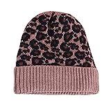 JMETRIC Damen Beanie Hat Mütze Stricken Strickmütze einfarbig Gestrickte mütze Gestrickt Verdicken Wintermütze Leopardenmuster