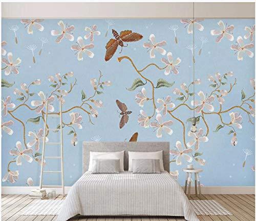 Apoart Wandtapete Retro- blaues Hintergrundwandbild der amerikanischen Blume und des Vogels der modernen unbedeutenden Stickerei 350X245cm(137.79 * 96.45in) -